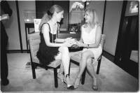 Psychic Stacey Wolf consults with Chanel's Barbara Cirkva.