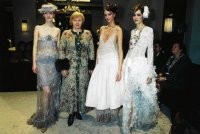 Ludmilla Putin with models in Chanel couture.