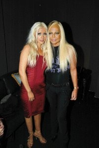 Christina Aguilera and Donatella Versace before the show.