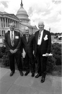 ATTAC former leaders George Shuster, Bruce Raynor, head of UNITE which is leaving the coalition, and Roger Milliken at the launch of the lobby group.