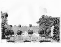 A rendering of the Arnold Scaasi-designed garden retreat for Grand Beekman in New York.