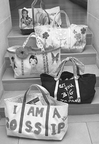 From top, totes designed by Iman, Carlos Falchi, Anna Sui, Tiffany Dubin for LAIR and Liz Smith.
