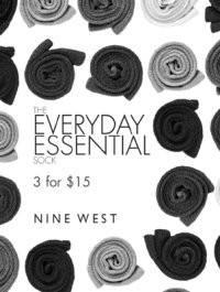 Three-for pricing is dominating the sock market. Sign depicting the pricing strategy for socks and knee-highs by Nine West.