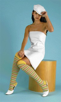 Hot Sox's cotton and nylon over-the-knee socks. Necessary Objects dress; Hurley cap; Dollhouse shoes.