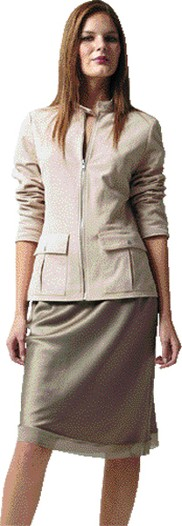 Calvin Klein's washable suede jacket and silk charmeuse skirt.
