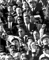President Kennedy at an Army-Navy football game.