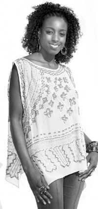 A beaded top from Zandra Rhodes at Paris Sur Mode.