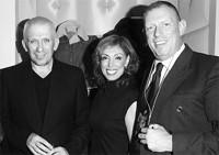 Jean Paul Gaultier, Maggie Ciafardini and Donald Potard, president of Jean Paul Gaultier, based in Paris.