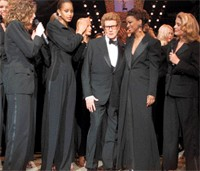 Yves Saint Laurent at his farewell show in January 2002.