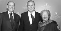 Patrick Heiniger with mentors Toni Morrison and Robert Wilson.