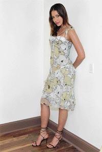 Silk chiffon flamenco dress, $128; black strappy sandal, $138