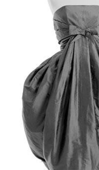Detail of a silk shantung dress by Simonetta, 1958