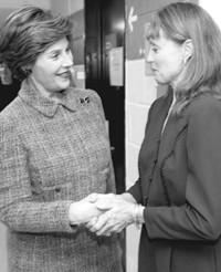 Laura Bush greets Suzanne Farrell.