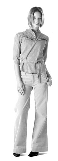 Wrangler belted denim prairie top and cotton corduroy trousers.