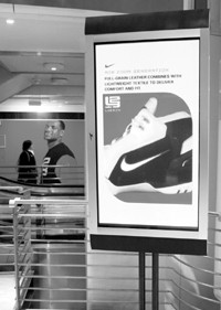 A digital display at Niketown in Manhattan.