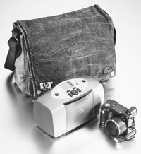 The limited-edition Blue Cult and Hewlett-Packard digital camera and printer bag.