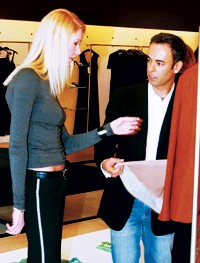 Summer Nielson and Francisco Costa at the Calvin Klein store in Dallas.