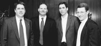 Jim Grice and Jim Scherr of the U.S. Olympic Committee and Adam Helfant and John Slusher of Nike Inc. at a press conference in New York Thursday.