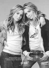 """Mary-Kate and Ashley Olsen in their """"Got Milk?"""" ad."""