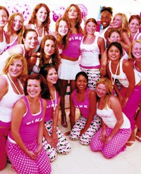 Team Pink college girls surround supermodel-Pink spokeswoman Alessandra Ambrosio.