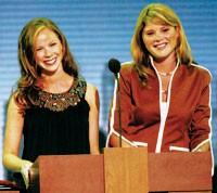 Barbara Bush in Catherine Malandrino and Jenna Bush in Oscar de la Renta's jacket.