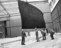"""The installation of Richard Serra's """"Single Double Torus."""""""