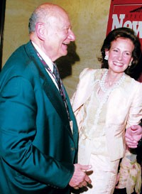 Lally Weymouth with Ed Koch at the Newsweek party.