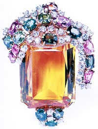 A Fifties citrine, spinel and diamond brooch from the collection of Joan and Jack Quinn.