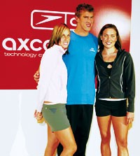 Amanda Beard, Michael Phelps and Natalie Coughlin modeled Speedo's new Axcelerate collection.