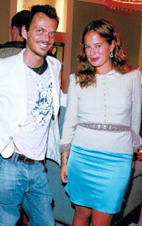Matthew Williamson with Jade Jagger in Ralph Lauren and a Marc Jacobs jacket.