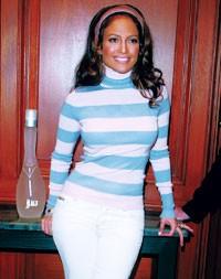 Jennifer Lopez in the former boardroom at Macy's.