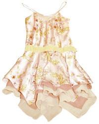 Yellow silk chiffon gown.