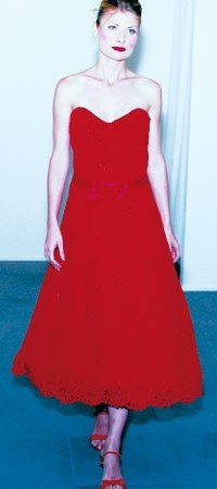Rena Lange Couture's red strapless silk lace dress.