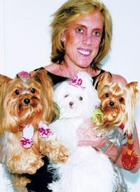 Cathy Wassner and her babies — Zoe Rose, Marilyn Monroe and Diesel — wearing Anthropologie scarves.