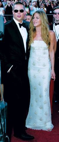Brad Pitt with Jennifer Aniston in Chanel Couture.