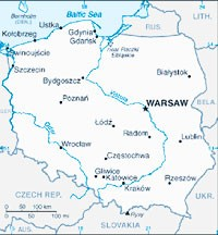A map of Poland, which is considered one of the largest new European markets for fashion and luxury brands.