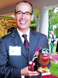 Designer Jay Strongwater with Mrs. Potato Head.
