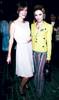 Samaire Armstrong in Petro Zillia and James Perse, right, with a friend.