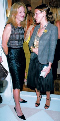 Caroline Kennedy Schlossberg with Sarah Jessica Parker in Vera Wang and a Marni jacket.
