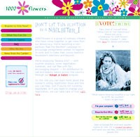The home page of 1,000 Flowers, D&A's partner in the Nail the Election effort.