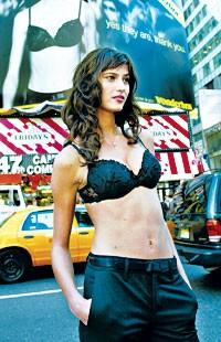 New Wonderbra model Maja at Times Square.
