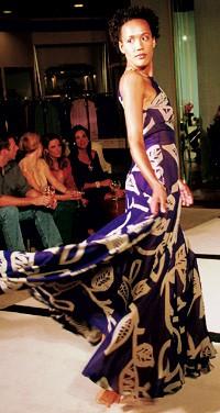 A model takes a turn in Bill Blass.