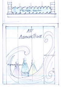Peter Som's sketch for his display at Audemars Piguet.