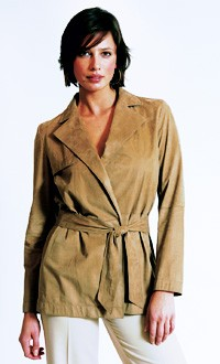 A suede belted jacket and silk Oxford pants.