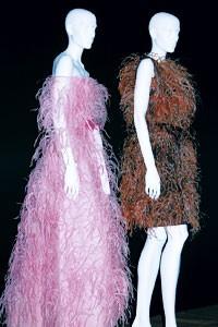 Ostrich feathers from Cristobal Balenciaga, 1965, and Hubert de Givenchy, circa 1966.