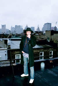 Miguel Adrover on the rooftop of his Chrystie Street studio.