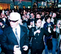 All eyes — and cameras — were on Karl Lagerfeld when he hit the streets of Ginza over the weekend.