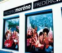 A promotional display for the Frederic Moreno concept salon.