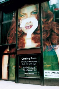 """Storefront of the Suave """"Can You Tell"""" Studio, a temporary salon that opens Tuesday."""