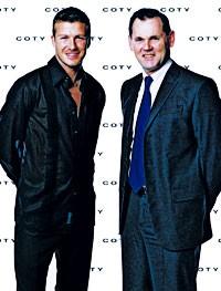 Soccer star David Beckham and Coty's Bernd Beetz.